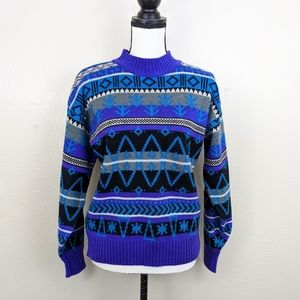 Vintage Wool Mock Neck Winter Patterned Sweater